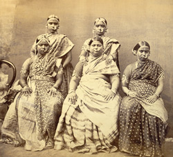Group of women from Madras, showing way in which jewellery is worn